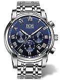 BOS Men's Quartz Analog Wrist Watch Chronograph Stainless Steel Band 8008