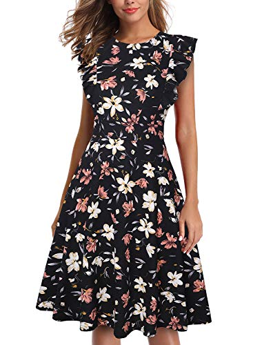 IHOT Women's Vintage Ruffle Floral Flared A Line Swing Casual Cocktail Party Dresses Black Pink