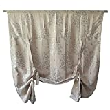R.LANG Tie Up Blackout Curtain Adjustable Shade Rod Pocket for Small Window and Kitchen Window 47'' W x 63'' L (Single Panel) Champagne