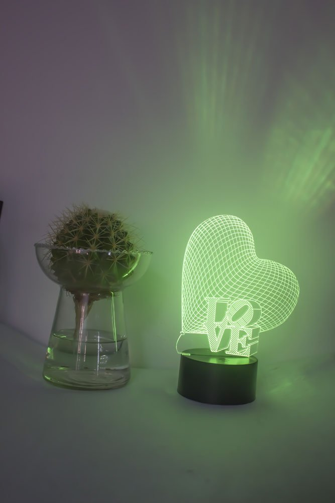 Loveboat USB Powered 7 Colors Amazing Optical Illusion 3D Glow LED Lamp Art Sculpture Lights Produces Unique Lighting Effects and 3D Visualization for Home Decor (LOVE) by Loveboat (Image #4)