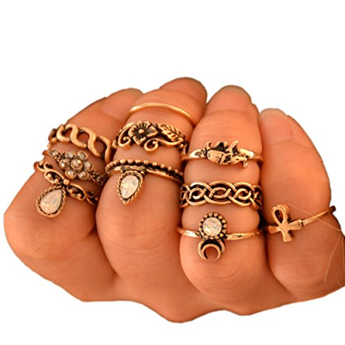 o Silver Plated Elephant Moon Crystal Joint Knuckle Nail Ring Set of 10pcs (Gold) (Gypsy Jewelry)