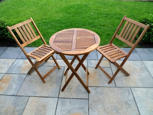 Classic Slat Design Acacia Hardwood 3 pc. Folding Patio Bistro Set (2 Person ) 22L x 22W x 29H in. (Table), 16.5L x 20W x 32H in.(Chair) - Brown by Northbeam