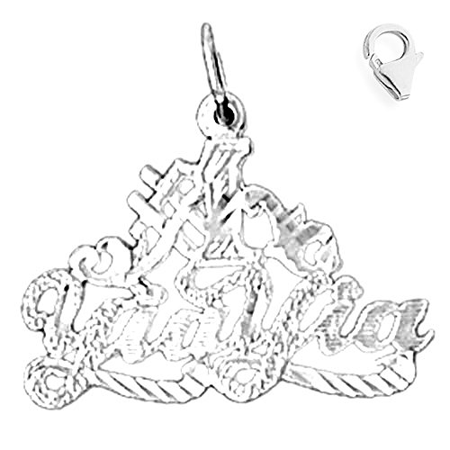- Jewels Obsession Saying Charm | 14K White Gold # Yaa Yia Saying Charm Pendant - 21mm