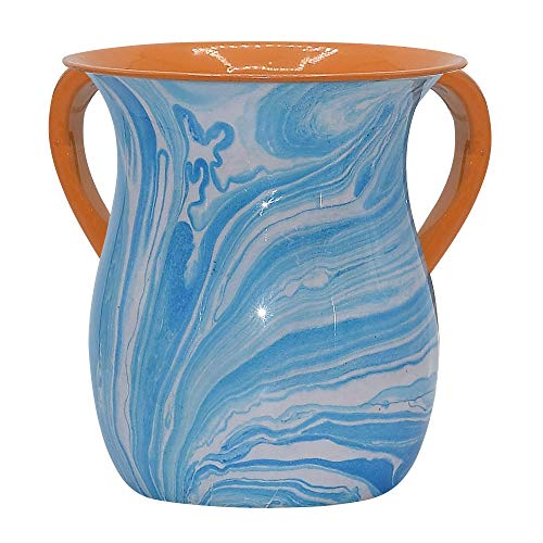 The Kosher Cook Stainless Steel Netilat Yadayim Cup  Light Blue Swirl Painted Design - Looks Like Ceramic - Rust, Break and Crack Proof Negel Vasser Cup - Judaica Gift Collection