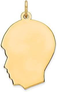 DIAMOND2DEAL da donna in argento Sterling 925GP Engraveable ragazzo lucida ciondolo disco