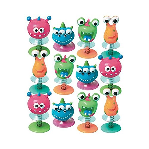 Fun-Filled Birthday Party Monster Creature Pop Up Spring Toy Favour, Plastic , Pack Of 12 (Halloween Party Favors For Toddlers)