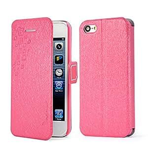 SAIDER [Hot Pink] Para la textura de seda Hermosa Apple Iphone 5C Moda de cuero ultra delgada tirón de la carpeta rosa cubierta de la caja