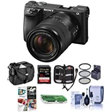 Sony Alpha A6500 Mirrorless Camera with 18-135mm f/3.5-5.6 OSS Lens - Bundle With 32GB SDHC U3 Card, Camera Case, 55mm Filter Kit, Cleaning KIt, Memory Wallet, Card Reader, Pc Software Package
