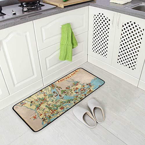 Vintage 1935 Louisiana State Map Non-Slip Kitchen Mat Runner Mat 3920 inch