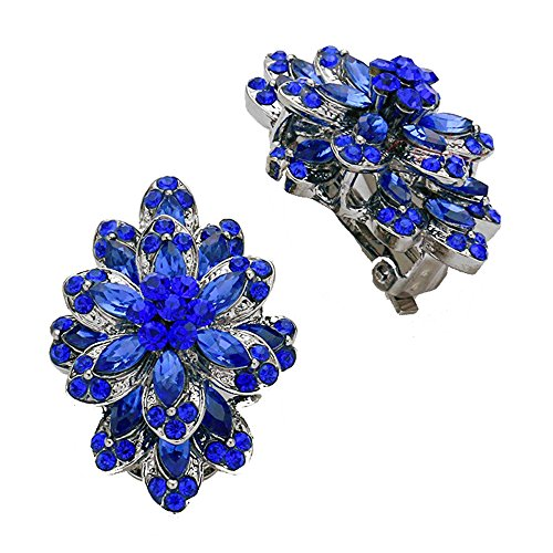 Vintage Style Royal Blue Glass Crystal & Rhinestone Dangle Clip On/Non Pierced Earrings with Dark Silvertones 3.75 in