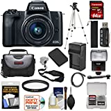 Canon EOS M50 Wi-Fi Digital ILC Camera & EF-M 15-45mm IS STM Lens (Black) with 64GB Card + Battery + Charger + Tripod + Flash + Kit