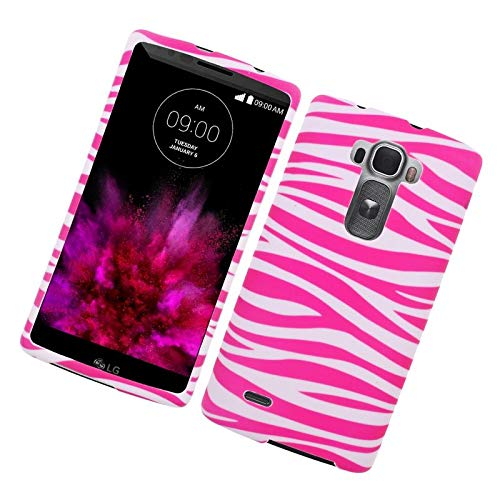 Insten Zebra Rubberized Hard Snap-in Case Cover Compatible with LG G Flex 2, Pink/White