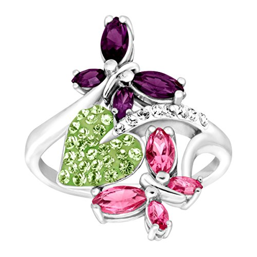 Crystaluxe Butterfly & Leaf Ring with Swarovski Crystals in Sterling Silver