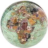 KALIFANO 4'' Gemstone Globe Paperweight with Peridot Green Opalite Ocean
