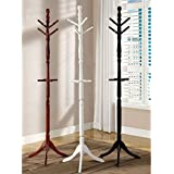 Solid Wood Constructed Traditional Off White Finish Coat Rack