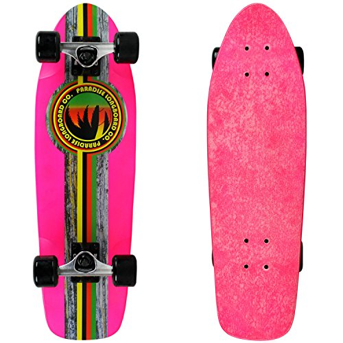 PARADISE Barking Rasta Cruiser Deck Skateboard with Grip, Neon Pink/Clear, 8 x 26.5 ()
