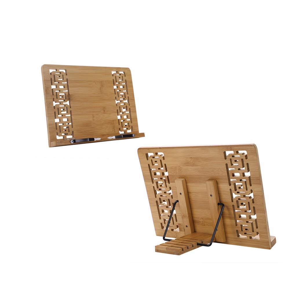 Luxe Pupitre de lecture support de tablette Premium en bambou naturel livre Rack ré glable Ange pliable support de livre avec enroulement Serre-livres Anti-myopia d'é criture de lecture pour les enfants et les é tudiants multifonction
