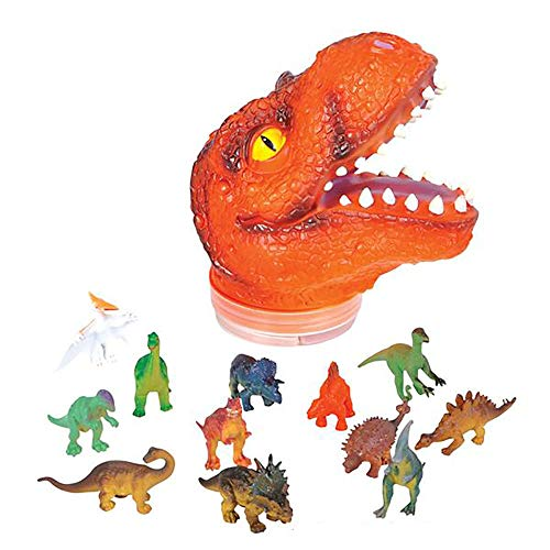 Kicko Dinosaur Action Figures with T-rex HeadCase - 24-Piece Realistic Dino Playset - Halloween Table Centerpiece, Cake Topper, Birthday Present, and Party Prize