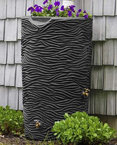 Bright Outdoors- Rain Barrel-Rain Water Catcher- Dark Granite Polyethylene Plastic Palm Design 65 Gallon Capacity Includes Debris Screen - Reinventing The Way You Save Rain Water