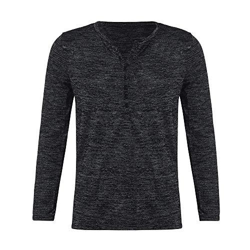Sunhusing Men's Fall Winter Button-Down Collar Slim Fit Long Sleeve T-Shirt Bottom Work Shirt ()
