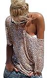 M.Brock Off-shoulder Glistening Sequin Cocktail Club Party Tops Tunic Blouses,golden,Medium
