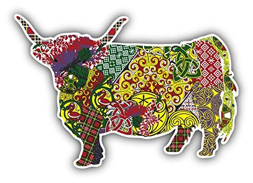 - Patterned Scottish Highland Cow Art Decor Bumper Sticker 5'' x 3''