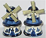 windmill salt and pepper shakers - Vintage Delft Holland Porcelain Windmills Small 2 Inch Salt & Pepper Shakers w/ Silver Trim