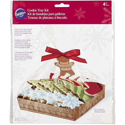 Wilton 1912-5088 4-Count Christmas Holiday Sweet Swap Cookie Tray - Cutter Ribbon Wilton