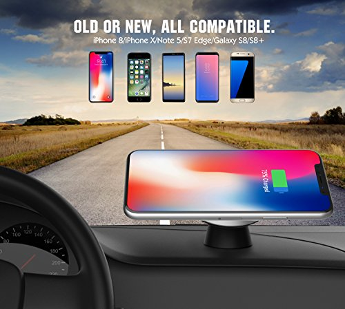 MoKo Magnetic Fast Qi Wireless Car Charger, 360 Degree Rotation Air Vent Holder and Dash Board Mount for iPhone X/8/8 Plus, Samsung Galaxy S9/S9+/Note 8/S8/S8 Plus and Qi-Enabled Devices, Black by MoKo (Image #4)