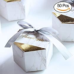 AerWo 50pcs Marble Favor Boxes, Silver Wedding Favor Boxes and Decoration. Hexagonal Wedding Candy Favor Boxes with Ribbons for Wedding and Bridal Shower Party(50)