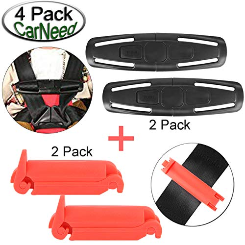 CarNeed 2 Pack Baby Chest Harness Clip, Universal Seat Chest Clip Guard, Black Lock Tite Stroller Chest Clip with 2 Pack Red Car Seat Belt Clip Buckle for Baby