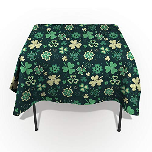 ARTSHOWING St. Patrick's Day Rectangle Tablecloth Dreamlike Lucky Shamrock Leaves Cotton Linen Table Cover for Kitchen Dinning Tabletop Decoration 60x90inch -