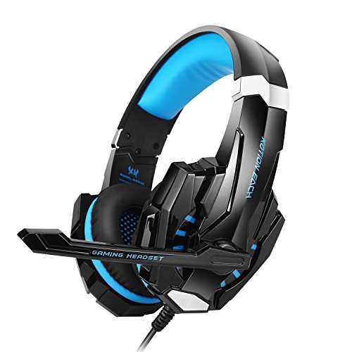 BENGOO Gaming Headset For PS4 Professional 3.5mm PC LED Light Game Bass Headphones Stereo Noise Isolation Over-ear Headset Headband with Mic Microphone For PS4 Laptop Computer and Smart Phone