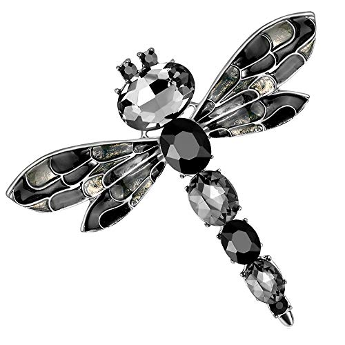 - Stylebar Women Dragonfly Brooch Pins Enamel Insect Brooches Broaches for Girls Black Crystal Silver Tone