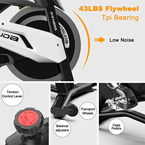 YOSUDA Indoor Exercise Bike Stationary - Cycling Bike with Belt Drive and 43 Lbs Flywheel (L-007) (Black) by YOSUDA (Image #5)