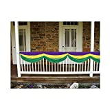 Beistle Party Decoration Accessory Mardi Gras Fabric Bunting Golden-Yellow, Green, Purple; 5' 10'' Pack Of 6