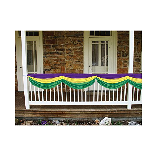 Beistle Party Decoration Accessory Mardi Gras Fabric Bunting Golden-Yellow, Green, Purple; 5' 10'' Pack Of 6 by Beistle