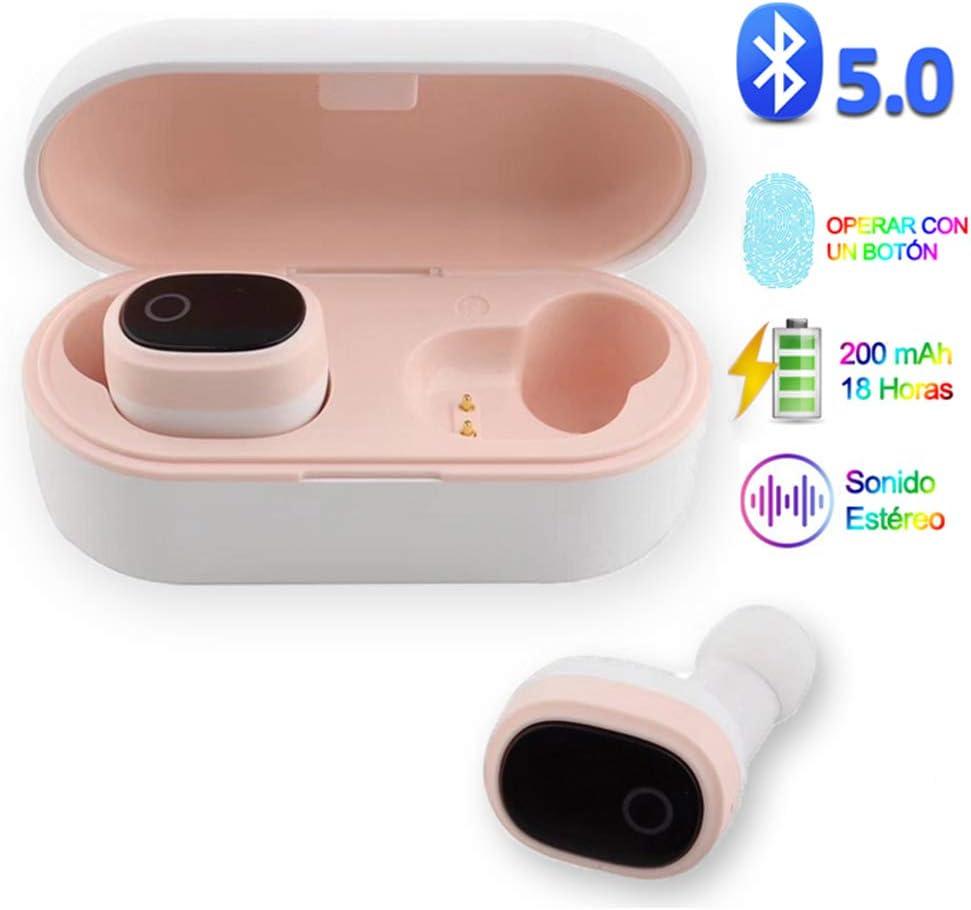 YiYunTE Mini Auriculares Bluetooth 5.0 Inalámbricos TWS Estéreo In Ear Auriculares Micrófono Manos Libres con Caja de Carga Portátil Deportivos Cascos para iPhone Samsung Huawei Android iOS