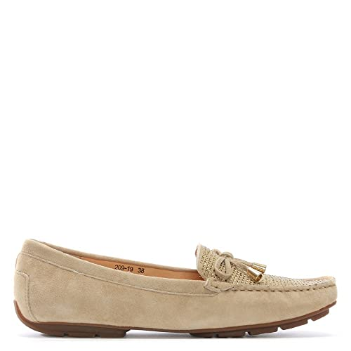 8b0a01b34a8 DF By Daniel Clarendon Taupe Suede Embellished Flat Loafers 37 Taupe Suede