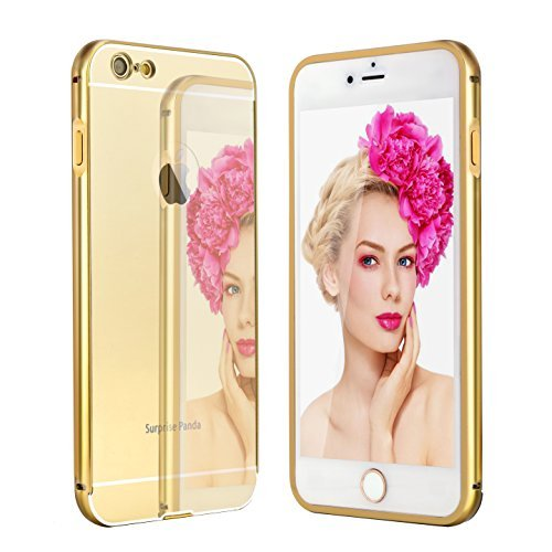 6 Plus Case ,Surprise Panda (TM) New Luxury Aluminum Ultra-thin Mirror Metal Case Cover for iPhone 6 Plus [Girl case] (iPhone 6 Plus, Gold)