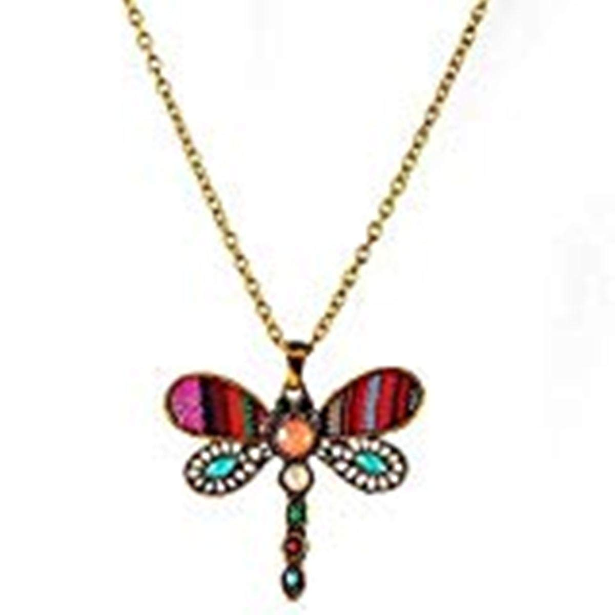 TOKENZ Dragonfly Design Long Chain Fashion Pendant Necklace with Multi Colored Stones Artistic Threadwork for Women and Girls