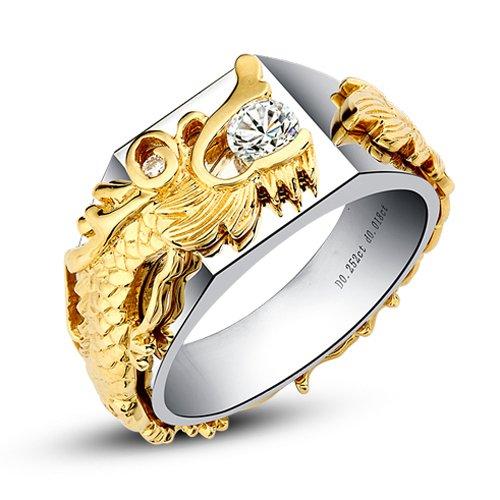 Gowe Dragon Chinois sur le thème authentique 14K 585Blanc/jaune deux tons Or fiançailles Lab Cultivées Charles en diamant Bague de mariage