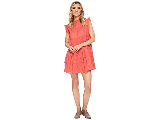 1d0a4d49d19 Free People Women s Nobody Like You Embroidered Mini Dress (Coral Kiss