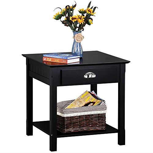 Topeakmart Black End Table/Night Stand with Drawer and Bottom Storage Shelf for Living Room