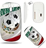 Liili Wireless Mouse White Base Travel 2.4G Wireless Mice with USB Receiver, Click with 1000 DPI for notebook, pc, laptop, computer, mac book Mexican flag and soccer ball football in goal net IMAGE ID