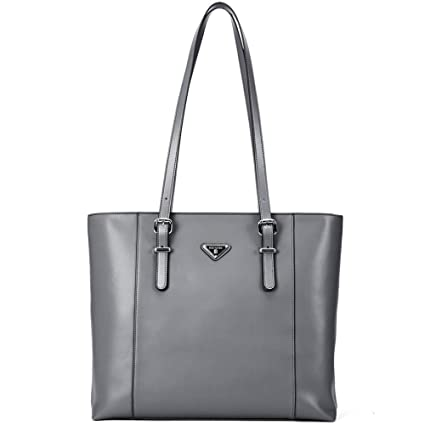 "a92cfeda7547 BOSTANTEN Women Briefcase Leather Laptop Tote Handbags 15.6"" Computer  Shoulder Bags (Gray)"