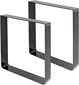 """Signstek 16"""" Square Table Legs with Industrial Design, Vintage Metal Bench Legs for Coffee Tables, Desks, Night Stands or Chairs, Set of 2"""