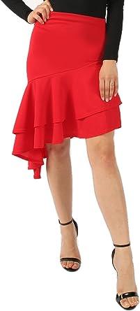 Momo&Ayat Fashions Falda asimétrica con Volantes para Mujer ...