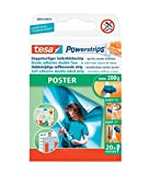 tesa Powerstrips 58003 Removable Adhesive Strips, Double Sided Pads for Poster Hanging - Pack of 20 Strips