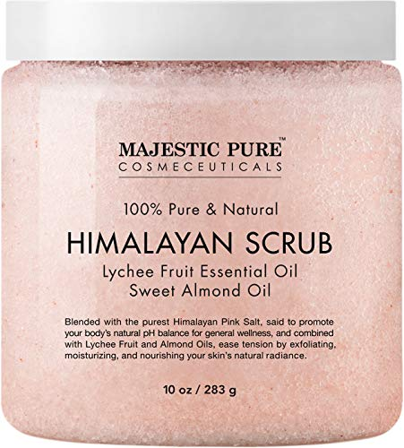 Majestic Pure Himalayan Salt Body Scrub with Lychee Essential Oil, All Natural Scrub to Exfoliate & Moisturize Skin, 10 Ounce (Pack of 1) (Get Body Mask Fresh)